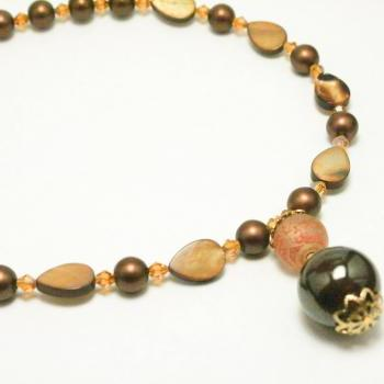 Brown and Tan Mixed Glass Necklace