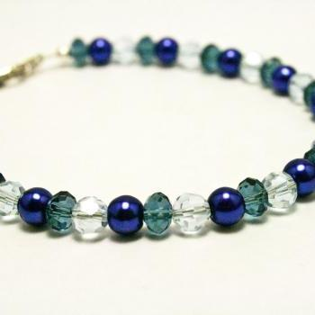 Blue Pearl and Glass Bracelet