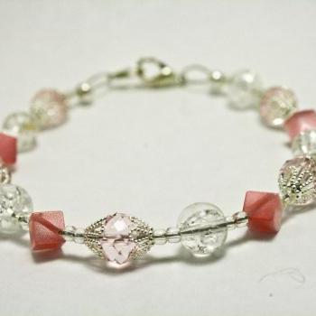 Baby Pink and Silver Crackle Glass Bracelet
