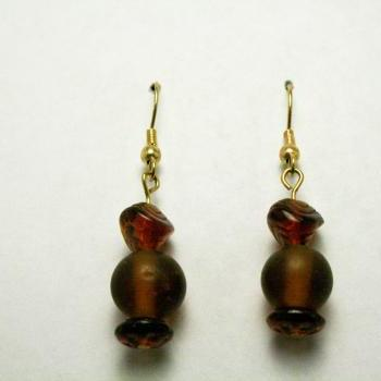 CLEARANCE Gold and Brown Glass Earrings