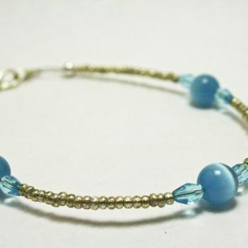 CLEARANCE Silver and Blue Cats Eye Glass Bracelet